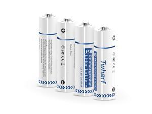 Rechargeable AA Batteries 1.5V 2000 mAh Lithium AA Battery 1.5 Hours Quick and Flexible Charge Either by Magnetic Absorption Charging Cable or Standard 5V Charger Twharf - 4 Counts Battery Only