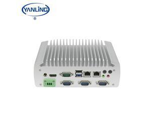 Yanling Fanless Mini PC,Industrial Computer ,Intel Celeron Quad Core J1900,Windows 10 ,DC12V,6USB 2.0,1USB3.0,2*1000M LAN,4COMCOM1?COM2 RS232/485 Optional,(4G RAM/64G SSD)