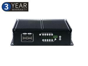 Fanless embedded computer,Rugged Mini Computer,Intel Celeron J1900,with Windows 10/Linux Ubuntu support,(Black),[2LAN/1HDMI/1VGA/ 6COM/1USB 3.0/5USB2.0],(4G RAM/64G SSD)
