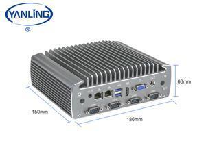Yanling Industrial Mini PC, Fanless Indsustrial Mini Computer,Intel i7-6700U ,Rugged Desktop PC With VGA, HD,6COM,6USB, Intel HD Graphics 510/520,- Barebone system (NO RAM,NO SSD,NO OS)