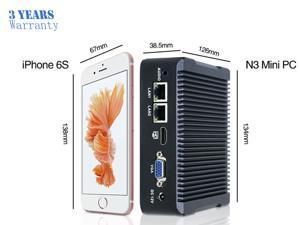 Fanless Mini PC,Intel Celeron N3160 Quad Core Dual Lan Mini Cmputer,Desktop Computer for Win 7 8 10 Linux OS with 1DP/2HDMI/2USB3.0/4USB2.0/1COM(4G RAM/32G SSD)
