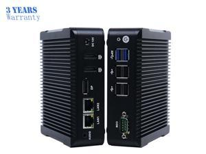Fanless Mini PC,Intel Celeron N3160 Quad Core Dual Lan Mini Cmputer,Desktop Computer for Win 7 8 10 Linux OS with 1DP/2HDMI/2USB3.0/4USB2.0/1COM(8G RAM/64G SSD)