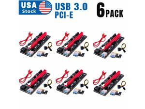 PCIe Riser Cable 1X to 16X Graphics Extension for GPU Mining Powered Riser Adapter Card, 60cm USB 3.0 Cable,PCI Express X1 to X16 GPU Mining Card, TWO 6Pin and Molex 3 Power Options-6pcs/Lot
