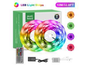 Minthouz 2PCS 16.4FT Led Strip Lights, Ultra Long RGB 5050 Color Changing LED Light Strips Kit with 44 Keys Ir Remote Led Lights for Bedroom, Kitchen, Home Decoration