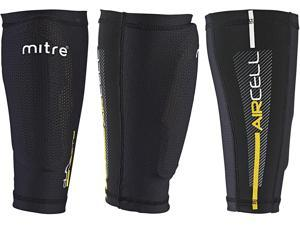 Mitre Aircell Pro Slip with Lock Sleeves Football Shin Pads - Black/Yellow, X-Small