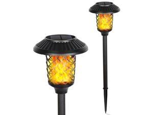 FUDESY Solar Torch Lights,LED Torches Light with Dancing Flickering Flames Outdoor Landscape Lighting, for Outside Pathway Garden Yard,1400K IP44,2-Pack