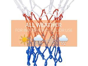 GTIWUNG 2 Pack Ultra Heavy Duty Basketball Net Replacement, All-Weather Red/White/Blue Basketball Nets, Fits Standard Indoor or Outdoor Rims, 12 Loops