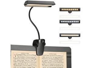 Rechargeable Music Stand Light, 19 LEDs Clip On Reading Light - 3 Level Brightness Settings, 3 Color Temperature Optional (Warm/Cool White/Natural Light Color), Perfect for Piano, Reading, Sewing