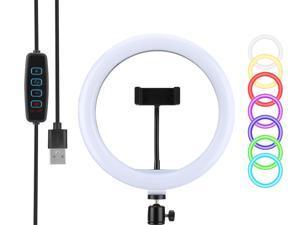 "Ring Light 10"" Selfie Ring Light with Tripod Stand&Phone Holder LED Video Light Table Top Lighting USB Portable Fill Light for YouTube /Tiktok/Live Stream/Makeup/Photography"