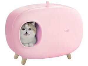MS! Makesure Cat Litter Box for Easier Handling of Cat Litter, Enclosed Design, Easy to Clean Cat Poop, Prevent Sand Leakage, Easy Assembly and Large Space, with Cat Litter Scoop - Pink
