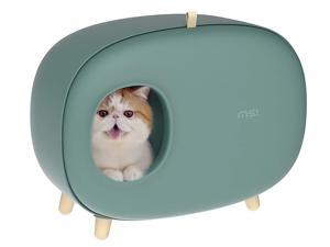 MS! Makesure Cat Litter Box for Easier Handling of Cat Litter, Enclosed Design, Easy to Clean Cat Poop, Prevent Sand Leakage, Easy Assembly and Large Space, with Cat Litter Scoop - Moss green