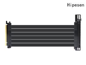 Hipesen High Speed PCI Express Riser Card PCI-E 3.0 x 16 Riser Card Extender Ribbon Flexible Extension Cable 90 Degree for Computer Graphic Cards (25CM)