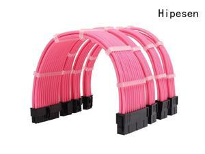 Hipesen Sleeved Cables PSU Extension Kit 18AWG 30cm ATX 24-pin,CPU4+4-pin,PCI-E 6+2-pin,PCI-E 6-pin for ATX Power Supply Cable with Black Cable Comb