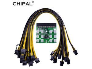 Power Module Breakout Board Kits with 12pcs 6Pin to 6+2 8Pin Power Cable for HP 1200W 750W PSU GPU Mining Ethereum ETH