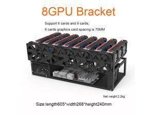8 GPU Mining Case Steel Open Air Miner Rig Computer Case ETH Frame Rig for Bitcoin Miner Kit Unassembled Ethereum
