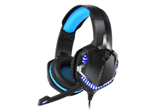 Lenovo Headphones HS15 Noise Cancelling 3.5mm Wired Gaming Headset Reduction Stereo Surround 50MM Big Horn LED Light with Mic