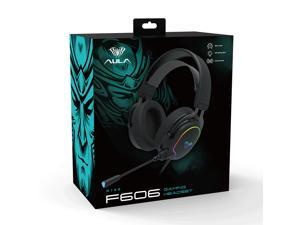 AULA F606 Wired Headset HD Microphone Adjustable Earphone RGB Light Effect for PC Laptop Gamer