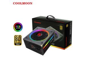 Coolmoon 750W Computer Gaming Power Supply ATX 12V 80PLUS GOLD Certificat 140mm Silent RGB Fan Full Module Desktop Computer Power Supplies