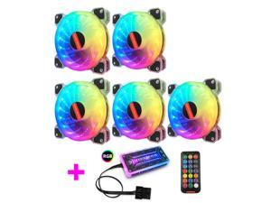 Coolmoon YP-RGB Case Cooling Fan 120mm RGB Fan Small 6 Pin Silent PC Fan Computer Case Cooler Fan, 5pcs