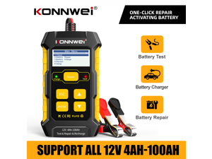 Konnwei KW510 12V Car Battery Tester Full Automatic 5A Car Battery Charger 3 in 1 Lead Acid Pulse Repair Tools
