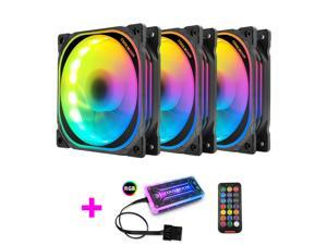 Coolmoon Xuanyue Case Fan RGB Fan 120mm Computer Silent Muti-layer Magic Color Changing LED Small 6 Pin PC Case Cooling Fan, 3PCS