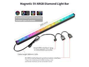 Coolmoon ARGB ZS Light Bar 280mm RGB Case Fan Decorative Light Bar LED Magic Light Synchronous Magnetic Hard Light Bar