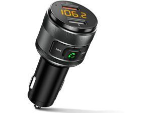 TSCZ Bluetooth 5.0 FM Transmitter for Car, 3.0 Wireless Bluetooth FM Radio Adapter Music Player FM Transmitter/Car Kit with Hands-Free Calling and 2 USB Ports Charger Support USB Drive