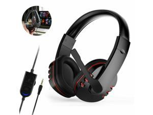 Gaming Headset 3.5mm Headphones Headset pc Stereo Bass Surround With Noise Cancelling Mic, For 7.1 headset PS4 Xbox One Controller PC Game