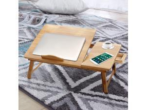 Laptop Desk for Bed, Portable Bamboo Lap Desk Adjustable Height for Writing, Folding Breakfast Serving Bed Tray with Storage Drawers, Couch Laptop Desk Table for Home Office Travel (19.4 x 11.8 Inch)
