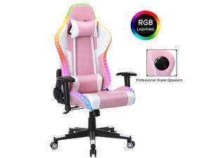 YOUTHUP Gaming Chair with RGB LED Lights, Racing Style Recliner Swivel Video Computer Chair with Bluetooth Speakers, Adjustable Ergonomic High Back, PU Leather with Headrest and Lumbar Support, Pink