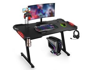 """YOUTHUP 43"""" Ergonomic Gaming Desk with RGB LED Light, Z-Shaped Office Desk PC Computer Desk Racing Gaming Table Gamer Workstation with Cup Holder & Headphone Hook & Cable Manage & Multi-function Rack"""