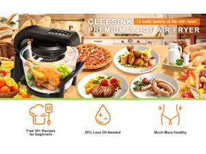 7.4 QT Air Fryer Oven, 9 Mode Glass Air Fryer Toaster Oven with LED Digital Touch Screen, 1200W Oilless Convection Oven Fryer Cooker with Recipes Food Holder Pan Clip Pizza Pan, Black