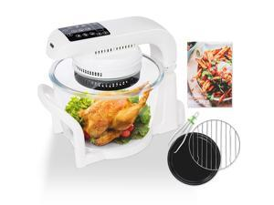 7.4 QT Air Fryer Oven, 9 Mode Glass Air Fryer Toaster Oven with LED Digital Touch Screen, 1200W Oilless Convection Oven Fryer Cooker with Recipes Food Holder Pan Clip Pizza Pan, White