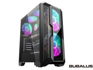 BUBALUS GuardianX1 ATX Mid Tower Gaming Computer Case,Desktop Case DIY PC Case Sliding Tempered Glass,Compatible with Water Cooling USB 3.0 Port,with 2x185mm 1x120mm RGB Fans,Gaming Style Window Case