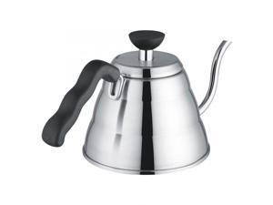 Moka Pot 1L Stainless Steel Hand Drip Pot Coffee & Tea Kettle with Lid for Gooseneck-shaped Spout Household Tool Camping
