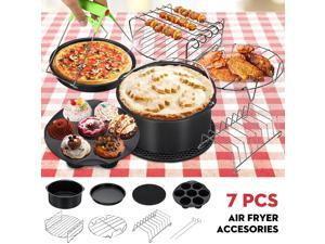 7 in1 Air Fryer Accessories Set 8'' Silicone Air Fryer Cake Barrel Pizza Pan Home Grill Cooking Tools  For 5.2~5.8QT Air Fryer