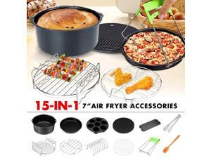 12Pcs Air Fryer Accessories 7 Inch Fit for Air fryer 3.2-6.8QT Baking Basket Pizza Plate Grill Kitchen Cooking Tool for Party