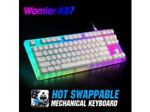 Womier 87 key Hot Swappable RGB Gaming Mechanical Keyboard  K87 80% Gateron Switch with Crystalline Base Type-C Wired USB 3.1