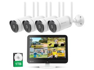 Kittyhok Outdoor Security Camera Wireless Security Camera System with 12 Inch LCD Monitor WiFi Surveillance Cameras 1TB HDD, 8 Channel NVR 4Pcs 3MP Pan/Zoom, 2 Way Audio/Remote View