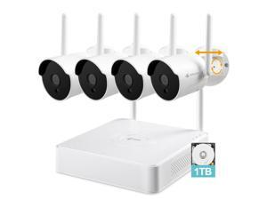 [2K, Pan-Tilt-Zoom] Kittyhok 8CH Wireless Security Camera System with 1TB HDD, 4pcs 3MP Outdoor/Indoor PTZ WiFi Surveillance Cameras, 2-Way Audio, Waterproof, 100ft Night Vision, Long-Range WiFi