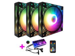 COOLMOON RGB Case Fans, 3 Pack 120mm Quiet Computer Cooling PC Fans, Music Rhythm 5V ARGB Addressable Motherboard SYNC/RC Controller, Colorful Cooler Speed Adjustable with Fan Control Hub
