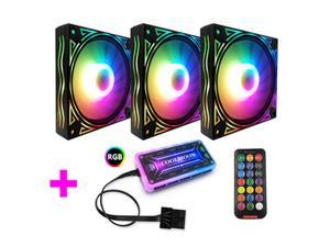COOLMOON RGB Case Fans, 3 Pack 120mm Quiet Computer Cooling PC Fans, with Romote Control, Colorful Cooler Speed Adjustable with Fan Control Hub