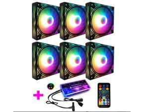 COOLMOON RGB Case Fans, 6 Pack 120mm Quiet Computer Cooling PC Fans, Music Rhythm 5V ARGB Addressable Motherboard SYNC/RC Controller, Colorful Cooler Speed Adjustable with Fan Control Hub