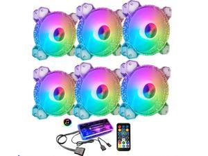 COOLMOON 6 Pack RGB Case Fans, 120mm Silent Computer Cooling PC Case Fan Addressable RGB Color Changing LED Fan with Remote Control, Music Rhythm Sync & 5V ARGB Motherboard Sync