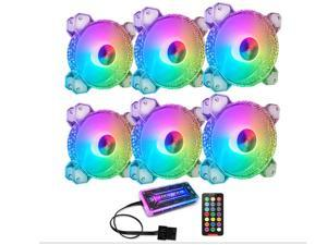 COOLMOON 6 Pack RGB Case Fans, 120mm Silent Computer Cooling PC Case Fan Addressable RGB Color Changing LED Fan with Remote Control
