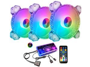 COOLMOON 3 Pack RGB Case Fans, 120mm Silent Computer Cooling PC Case Fan Addressable RGB Color Changing LED Fan with Remote Control, Music Rhythm Sync & 5V ARGB Motherboard Sync