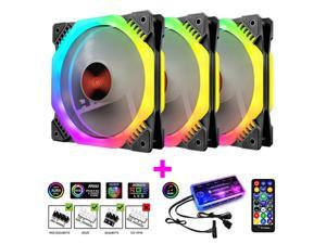 Coolmoon 120mm 6Pin PC Cooling Fan Multilayer Backlight Adjustable RGB Light Silent Computer Cooler Cooling Fan For CPU with Music Controller(3PCS)