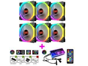 Coolmoon 120mm 6Pin PC Cooling Fan Multilayer Backlight Adjustable RGB Light Silent Computer Cooler Cooling Fan For CPU with Music Controller(6PCS)