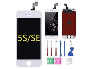 for iPhone 5s/5SE Screen Replacement White (4.0), LCD Display &Touch Screen Digitizer Frame Assembly Full Set with Free Tools Kit for iPhone 5S White
