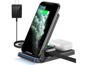 Wireless Charger, HYS, 3 in 1 Qi-Certified 15W Wireless Charging Station for Apple iWatch SE/6/5/4/3/2/1, AirPods Pro/2, Charging Stand for iPhone 12/11/X/XS/XR/Xs Max/8/8 Plus/Samsung (Black)